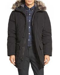 Michael Kors | Black Long Hooded Parka With Faux Fur Trim for Men | Lyst