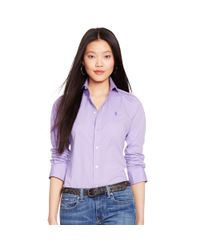 Polo Ralph Lauren | Purple Slim-fit Poplin Shirt | Lyst