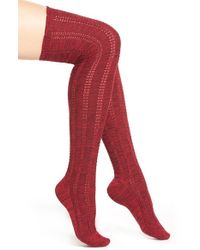 Free People | Red 'fray' Openwork Knit Over The Knee Socks | Lyst