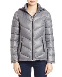 MICHAEL Michael Kors | Gray Hooded Puffer Coat | Lyst