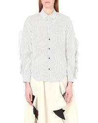 Toga | Blue Ruffle-detail Cotton Shirt | Lyst