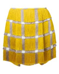 63148a435f Marco De Vincenzo Check Print Fringed Skirt in Yellow - Lyst
