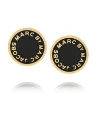 Marc By Marc Jacobs - Black Enameled Goldtone Earrings - Lyst
