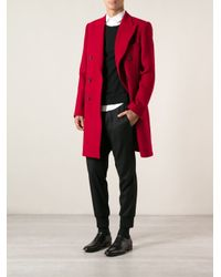 Dolce & Gabbana - Red Double Breasted Coat for Men - Lyst