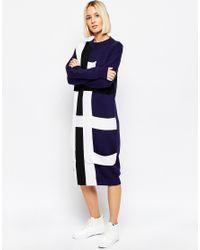 ASOS - Blue Midi Jumper Dress With Strap Detail - Lyst