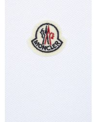Moncler - White Blue Piqué Cotton Polo Shirt for Men - Lyst