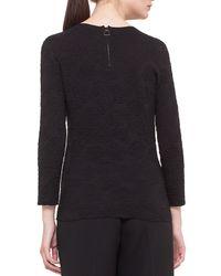Akris - Black 3/4-sleeve Rose Jacquard Silk Top - Lyst