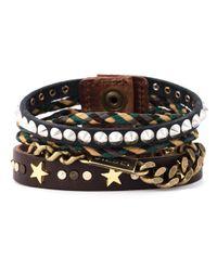 DIESEL Brown Multi Strand Bracelet for men