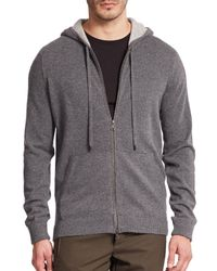 VINCE   Gray Cashmere Zip-front Hoodie for Men   Lyst