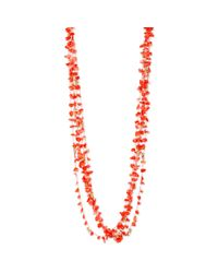 Kenneth Cole | Red New York Goldtone Coral Chip Bead Long Multirow Necklace | Lyst