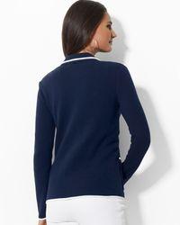 Ralph Lauren | Blue Petite Cotton Blazer with Crest | Lyst