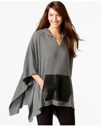 Karen Kane | Gray Kangaroo-pocket Hooded Poncho | Lyst