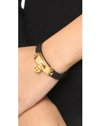 Tory Burch - Lock Leather Bracelet - Black/gold - Lyst
