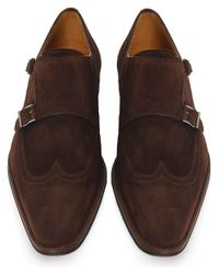 Magnanni Shoes Brown Suede Monk Strap Shoes for men