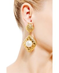 House of Lavande - Metallic Chanel Gold Clip On Earrings - Lyst