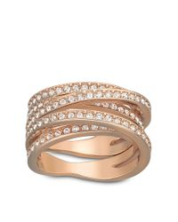 Swarovski | Metallic Spiral Crystal And Rose Goldtone Ring | Lyst