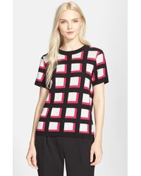 kate spade new york - Pink Windowpane Check Short Sleeve Sweater - Lyst