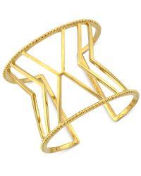 Vince Camuto | Metallic Gold-tone Chevron Cutout Cuff Bracelet | Lyst