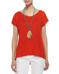 Eileen Fisher | Orange Linen Jersey Cap-sleeve Top | Lyst