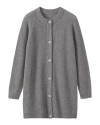 Toast | Gray Ribbed Wool Cardigan | Lyst