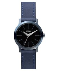Nixon - Blue 'the Kenzi' Round Leather Strap Watch - Lyst