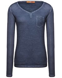 BOSS Orange - Blue Long-sleeved Cotton Shirt 'voksana' - Lyst