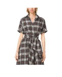 Michael Kors - Black Madras Silk-Taffeta Wrap Shirt - Lyst