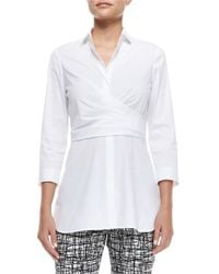 Lafayette 148 New York | White Ginger 3/4-sleeve Wrap Blouse | Lyst