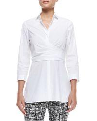 Lafayette 148 New York - White Ginger 3/4-sleeve Wrap Blouse - Lyst