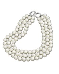 Kenneth Jay Lane | White 3 Row Pearl Necklace | Lyst