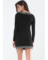 Bebe - Black Beaded Plunge Keyhole Dress - Lyst