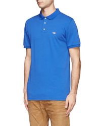 Maison Kitsuné - Blue Logo Embroidery Piqué Polo for Men - Lyst