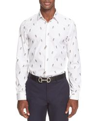 Ferragamo - White Trim Fit Embroidered Owl Stripe Shirt for Men - Lyst