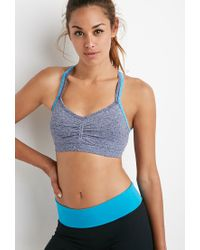 Forever 21 | Blue Low Impact - Seamless Heathered Sports Bra | Lyst