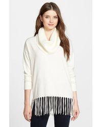 MICHAEL Michael Kors - White Fringe Hem Cowl Neck Sweater - Lyst