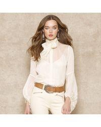 Ralph Lauren Blue Label - White Tie-neck Silk Blouse - Lyst