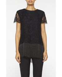 Nicole Miller - Black Lace Short Sleeve Top - Lyst