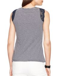 Lauren by Ralph Lauren | Blue Striped Lace-trimmed Tank | Lyst