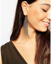 Pieces | Metallic Chain Drop Earrings | Lyst