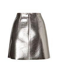 MSGM - Coated Wool Metallic Mini Skirt - Silver - Lyst