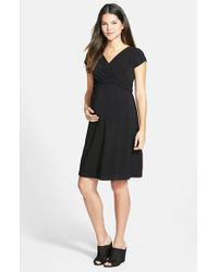 Japanese Weekend | Black Jersey Surplice Maternity/nursing Dress | Lyst