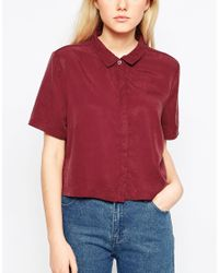 Native Youth | Red Tencel Cropped Shirt | Lyst