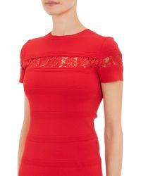 Valentino - Red Lace-Inset Doubleknit Dress - Lyst