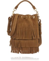 Saint Laurent | Brown Emmanuelle Small Fringed Suede Bucket Bag | Lyst