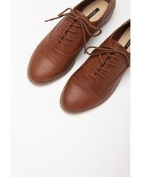 Forever 21 | Brown Classic Faux Leather Oxfords You've Been Added To The Waitlist | Lyst