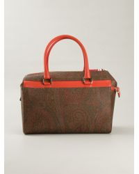 Etro | Brown Paisley-Print Leather Tote | Lyst