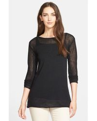 Eileen Fisher | Black Mesh Detail Bateau Neck Wool Tunic Sweater | Lyst