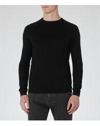 Reiss - Black Battersea Textured Jumper for Men - Lyst