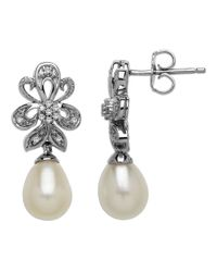 Lord & Taylor | Metallic Sterling Silver Frewshwater Pearl And Diamond Drop Earrings | Lyst