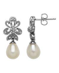 Lord & Taylor | Metallic Sterling Silver Frewshwater Pearl And Diamond Drop Earrings | Lyst